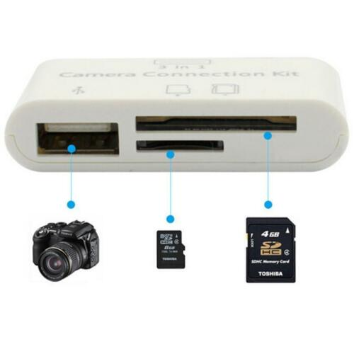 3in1 USB Card Reader Micro SD Camera DSLR Link Adapter for Apple iphone ios
