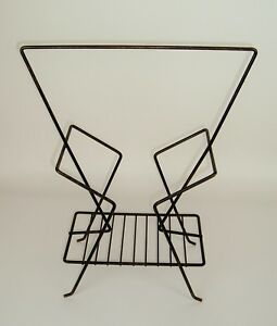 Vtg-Mid-Century-Mod-50-039-s-60-039-s-Atomic-Magazine-Rack-stand-Industrial-Black-Metal