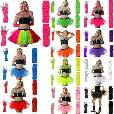 Willensstark New Neon Tutu Skirt Fancy Dress Set 3pc Legwarmers Fishnet Gloves 80's Hen Party