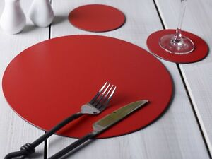 Set-of-4-Round-Red-Leatherboard-Placemats-amp-4-Coasters