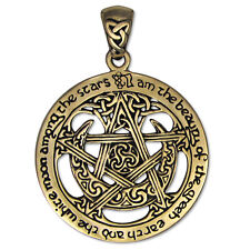 Bronze Large Moon Pentacle Pentagram Pendant Jewelry Dryad Design Wicca Pagan