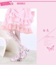 Kawaii Girls Strawberry Lolita Stocking Long Knee Thigh-high Socks White & Black
