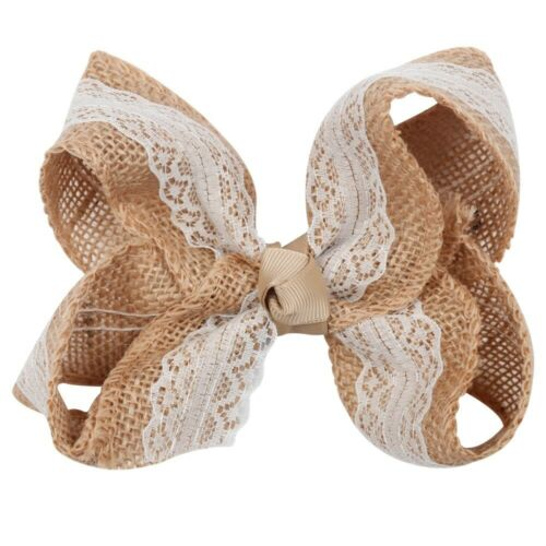 """NEW /""""BURLAP /& LACE/"""" Hairbow Alligator Clips Girls Ribbon Hair Bows 5.5 Inches"""