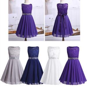 buy popular 4e9fc e58bd Details zu Blumen Mädchen Festkleider Kinder Hochzeit Party Kleid  Prinzessin Spitzenkleid