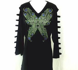 6123734d39f Image is loading PLUS-2X-Hand-Embellished-Rhinestone-Peacock-Butterfly -Tunic-