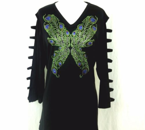 PLUS 1X Hand Embellished Rhinestone Peacock Butterfly Tunic Ladder Sleeve Top