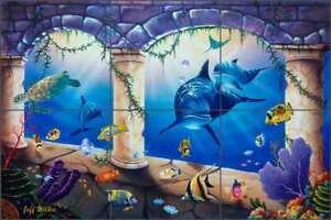 Undersea-Tile-Backsplash-Wilkie-Ceramic-Dolphin-Sea-Life-Art-Mural-POV-JWA041