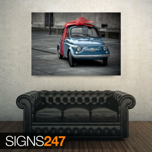 CLASSIC CAR POSTER Photo Poster Print Art A0 A1 A2 A3 A4 AA999 FIAT PRESENT