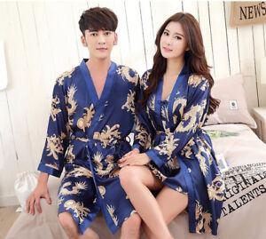 Women Men dragon Night Dress Silk Satin Pajama Sleepwear Long Robes ... aeb1ce2ddb