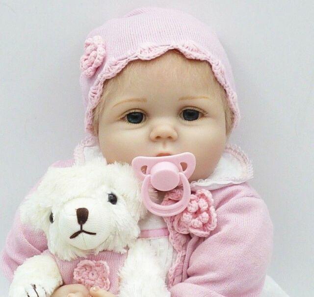 22inch Reborn Baby Dolls Realistic Cute Newborn Doll Lifelike Pink Toddler Girl