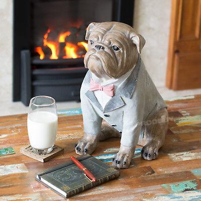 37cm Large Sitting British Bulldog In A Suit Ornament Figurine Statue Sculpture 5056013397380 Ebay
