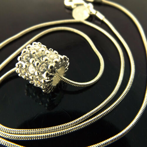 Necklace Chain Real 925 Sterling  Silver S//F Diamond Simulated Pendant Design