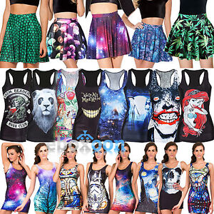 Women-039-s-Graphic-Punk-Tank-Vest-Sleeveless-Shirt-Tops-Bodycon-Dress-Short-Skirt