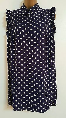 NEW Plus Size 16-28 Polka Dot Spotted Navy Blue White Sleeveless Top Blouse