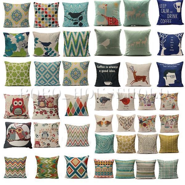 Simple Colorful Cotton Linen Throw Waist Pillow Case Sofa Cushion Covers Square