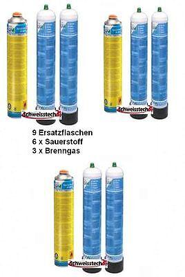 CFH - Ersatzgasdosen für SF 3100 6 x Sauerstoff 1Liter und 3x Spezialgas AT 3000