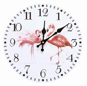 Flamingo-Wanduhr-Analog-Kuechenuhr-Wohnzimmer-Zimmer-Uhr-Sommer-Maedchen-Pink-Rosa