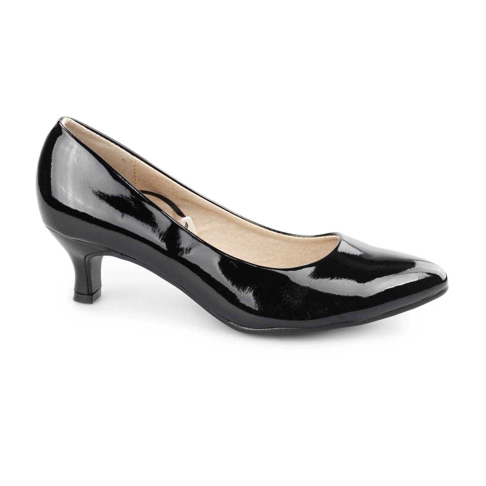 Comfort Plus TEXAS Ladies Womens Kitten Heel Wide Fit Court Shoes Patent Black