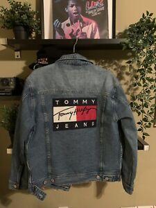 Details zu Vintage Tommy Hilfiger Big Flag Signature Logo Denim Jean Jacket XL