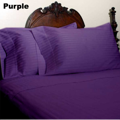 Extra Deep PKT Bedding Items 1000TC Egyptian Cotton Queen-Size Purple Striped