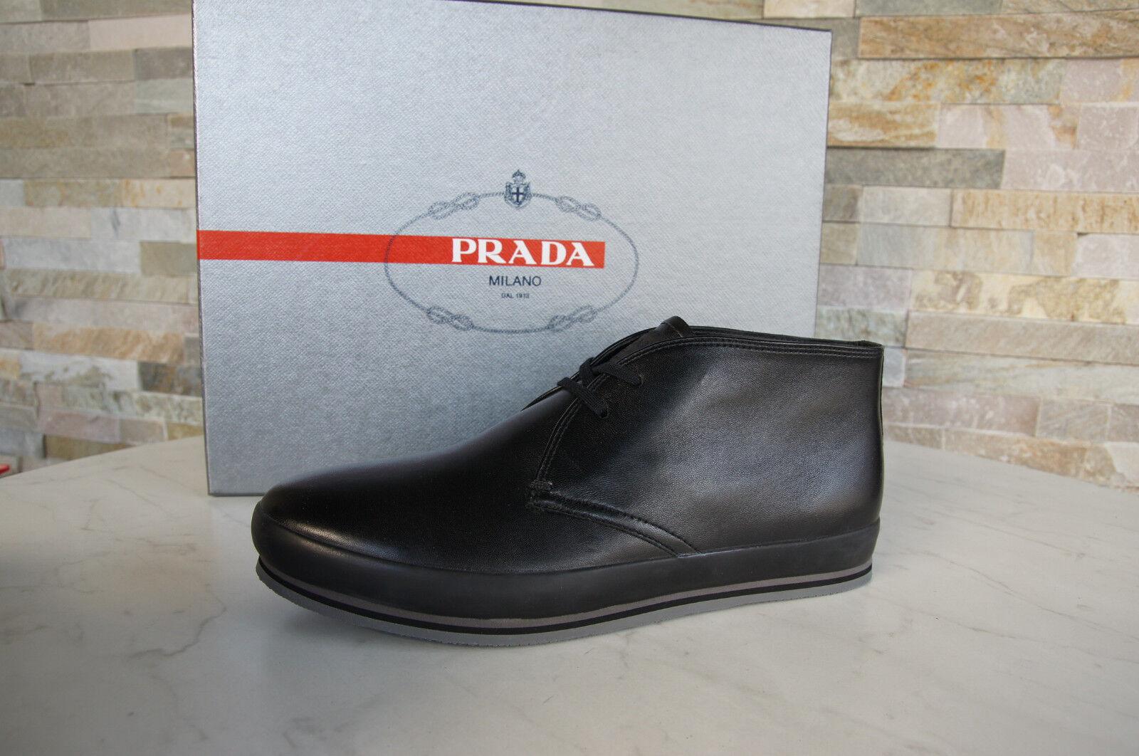 Prada Gr 6,5  40,5 Halbschuhe Schnürschuhe Schuhe 4T2405 schwarz  NEU  UVP 430