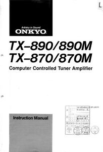 onkyo integra tx 890 tuner owners instruction manual ebay rh ebay com onkyo r1 owner's manual onkyo m 501 owner's manual