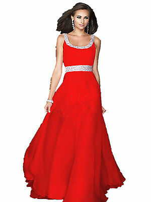 A11 double line beading prom ball  sequined gown evening party dress size 8 =24