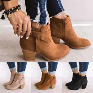 Ladies-Women-Chelsea-Ankle-Boots-Block-Mid-Heel-Bowknot-Zip-Booties-Casual-Shoes