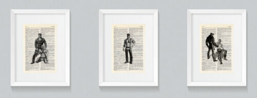 3 Tom of Finland Cuir Style Set 2 vintage Dictionnaire Livre Print Wall Art