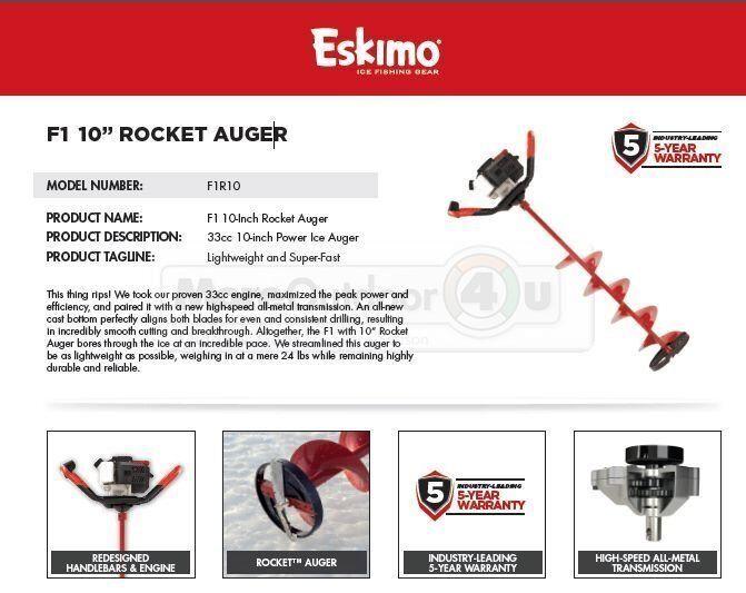 F1R10 potencia de cohete Esquimal F1 10  ICE BARRENA garantía de 5 años