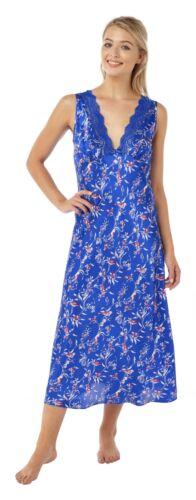 Ladies Full Length Long Navy Blue Satin Nightdress langes blaues Nachthemd
