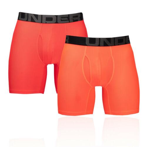 Under Armour Hommes Tech 15cm Boxerjock Orange Rouge Sport Jogging Gym Respirant