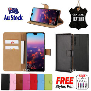 Genuine-Leather-Wallet-Flip-PU-Case-Cover-For-Huawei-P20-Pro-P20-Lite-Nova-3e