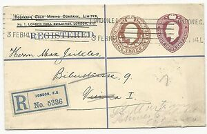 Great-Britain-H-amp-G-384F-Registered-Postal-Stationery-Cover-No-5336-Feb-3-1914