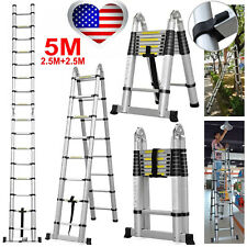 16.5//14.5ft Aluminum Extendable Ladder Multi-Purpose Telescopic Folding Tool US