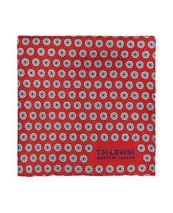 T-M-Lewin-Rojo-Geometrico-Flor-Spot-Seda-Bolsillo-Cuadrado