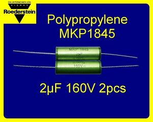 2x VISHAY ROEDERSTEIN MKP1845 2uF 160V AC Pulse Polypropylene Capacitors Axial