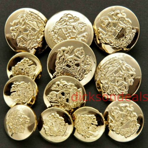5 Military Buttons Gold Colour 15mm 18mm or 21mm like Coat of Arms Sew on Shank