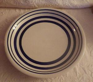 Royal Norfolk Greenbrier Navy Blue Stripe White Band Stoneware 2 Dinner Plate