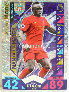 Match Attax 2016/17 Premier League - #422 Sadio Mane - Man of the Match
