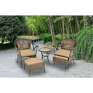 Mainstays 5 Piece Skylar Glen Outdoor Leisure Set Tan Seats 2 Ebay