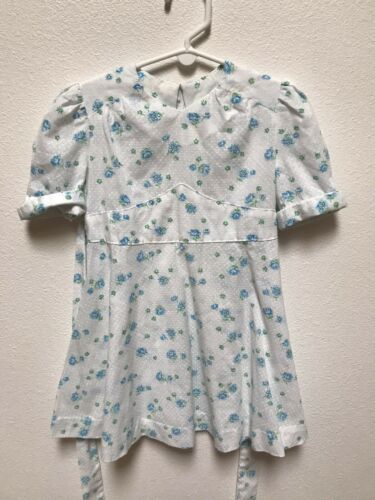 90s Osh Kosh Green and Blue Denim Long Sleeve Peasant Dress Size 3T to 4T