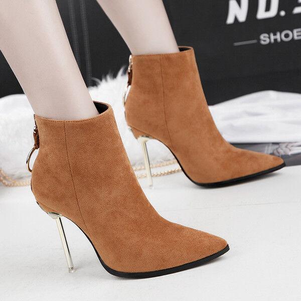 botas bajo Stiletto 11cm Tobillo Beis Elegantes Piel Sintético 9545