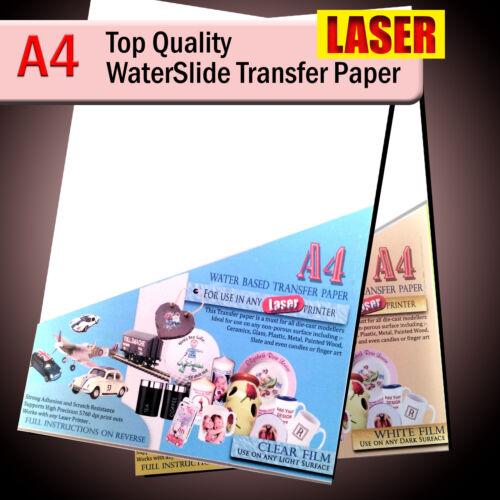 Papel de calcomanía tobogán de agua-Papel de transferencia Tobogán-Laser A4-Transparente O Blanco