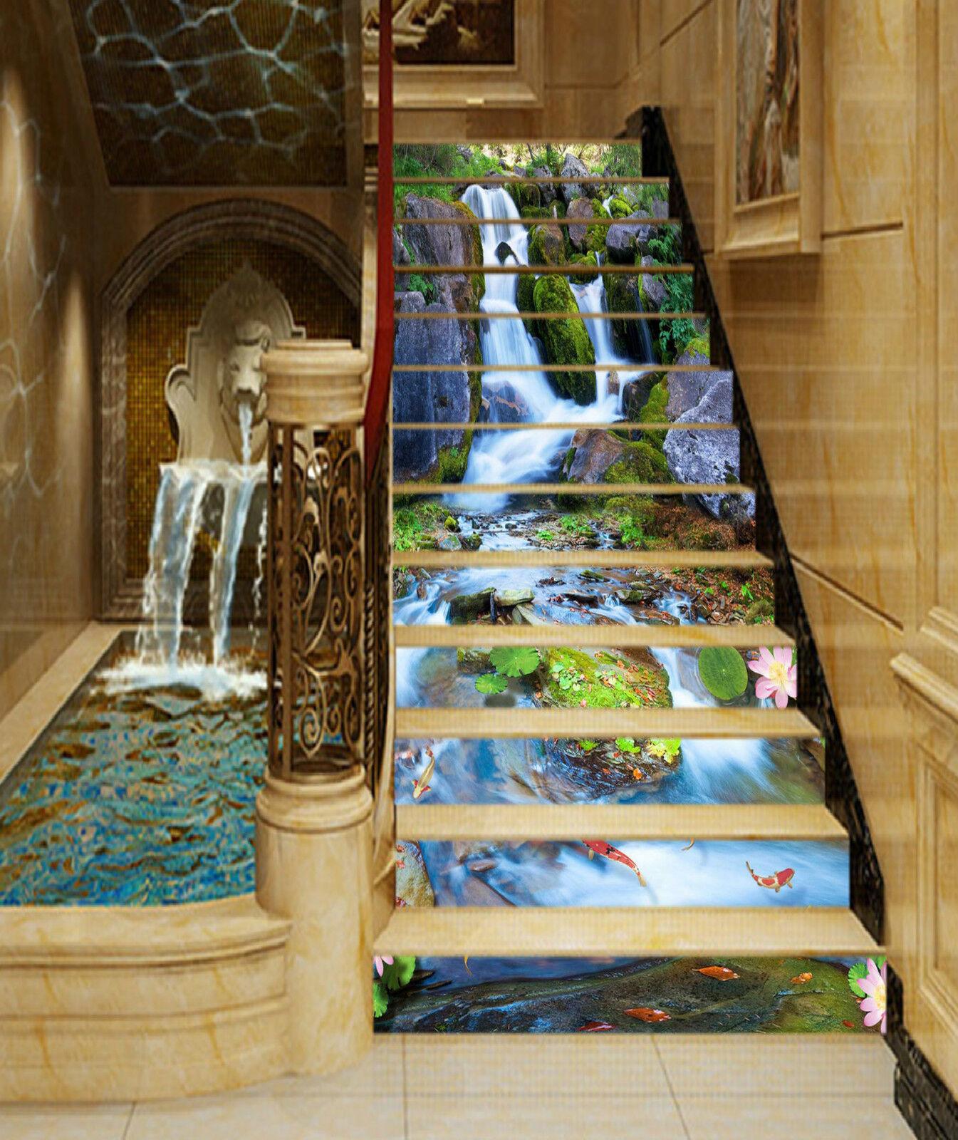 3D Flusslandschaft Stair Risers Dekoration Fototapete Vinyl Aufkleber Tapete DE