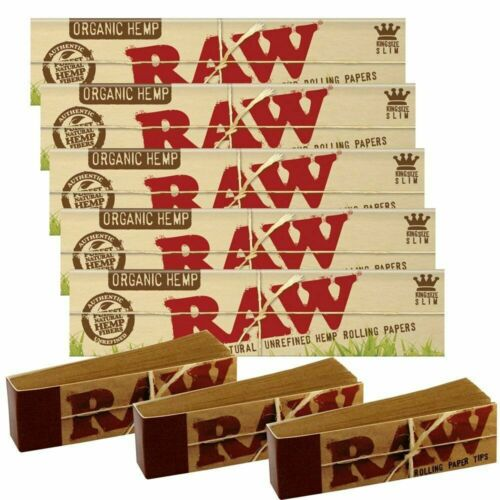 RAW Classic//Organic Rolling Papers King Size Slim with Roach Filter Tips Combos