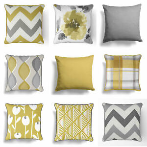 Ochre-Mustard-Yellow-Grey-Cushion-Cover-Collection-17-034-18-034-43cm-45cm-Covers