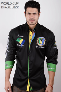 Absolute Rebellion Men/'s Long//Sleeve shirt World Cup Brazil Black Embroidery