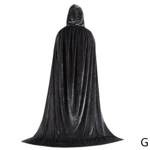 Adult Unisex Velvet Halloween Costumes Cloak Hood Cape Dress Fancy Cosplay U8C4