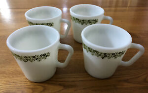 4 Vintage Spring Blossom Crazy Daisy Pyrex Corning Coffee Cups D-Handle Mugs